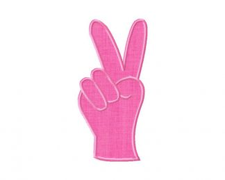 Peace Hand Sign Machine Embroidery Applique