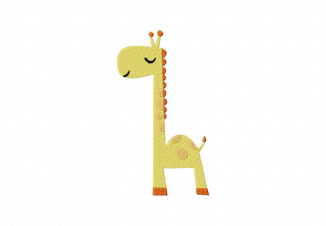 Peaceful Giraffe Machine Embroidery