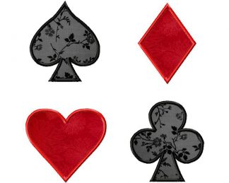 Playing Card Suits Applique Four Pack