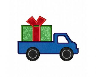 Holiday Christmas Present Truck Machine Applique Design