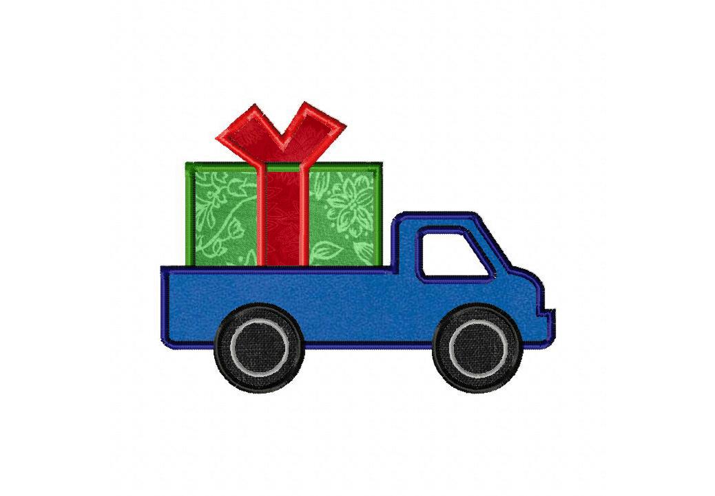 Holiday Christmas Present Truck Machine Applique Design