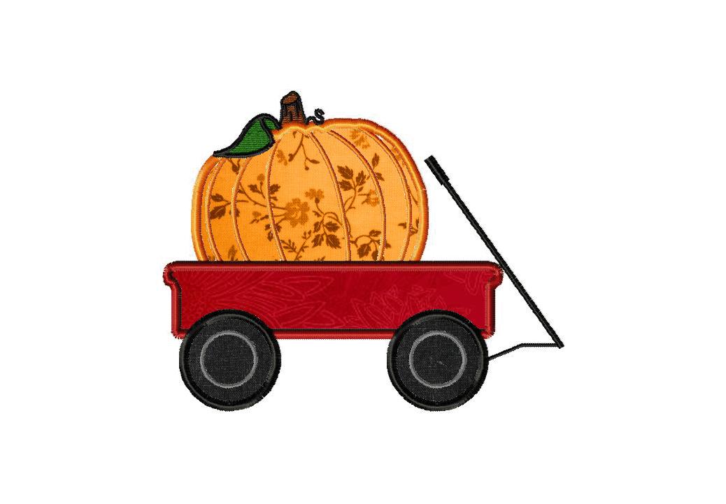 Pumpkin Wagon Machine Embroidery Design