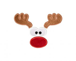 Reindeer Face Machine Embroidery Includes both Applique and Fill Stitch