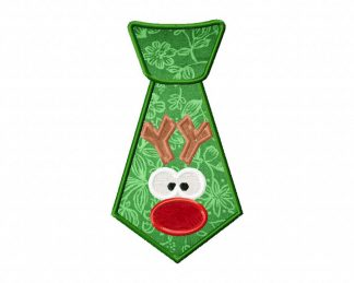 Red Nose Reindeer Tie Machine Applique