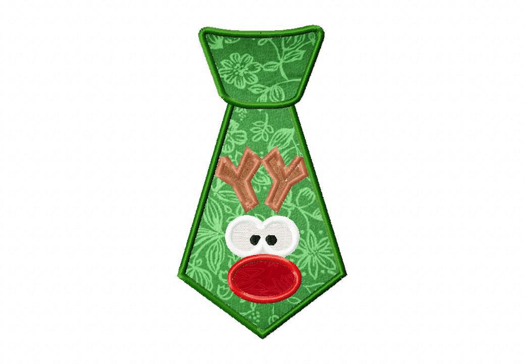 Red Nose Reindeer Tie Machine Applique