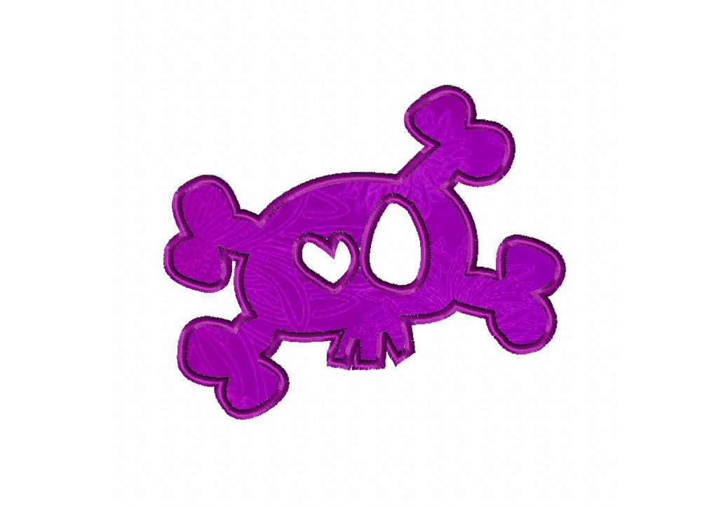 Crossbones With Heart Eye Machine Embroidery Design Includes Both Applique and Fill Stitch
