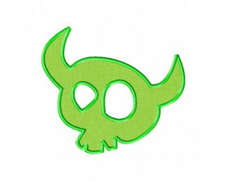 Horned Skull Machine Embroidery Includes Both Applique and Fill Stitch