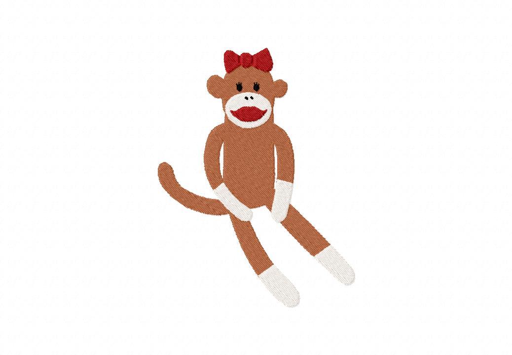 Sock Monkey Girl Machine Embroidery Design