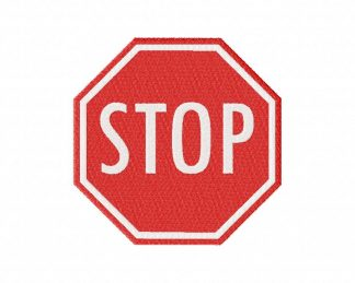 Stop Sign Machine Embroidery Design