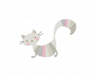 Striped Cat Machine Embroidery Design