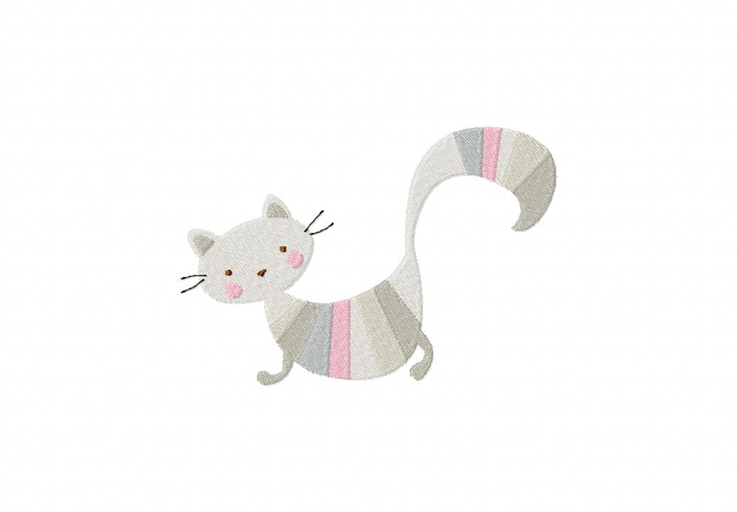 Striped Cat Machine Embroidery Design