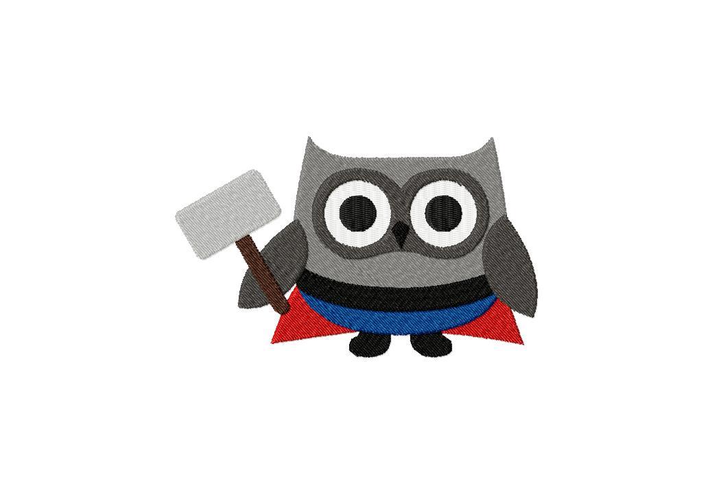 God of Thunder Owl Super Hero Machine Embroidery Design