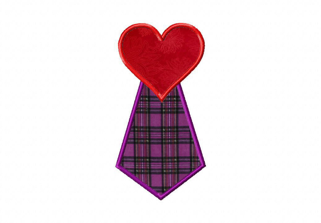 Heart Tie Machine Applique