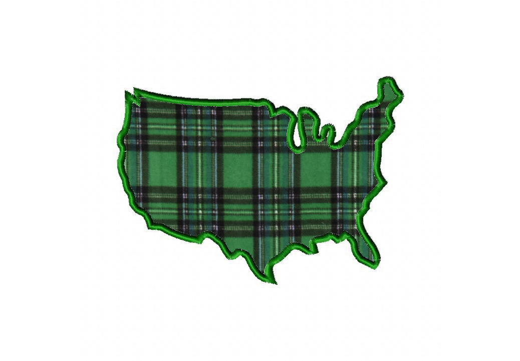 United States Machine Embroidery Design Includes Both Applique and Filled Stitch