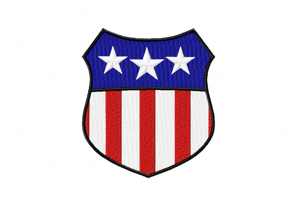 USA Shield Machine Embroidery Design