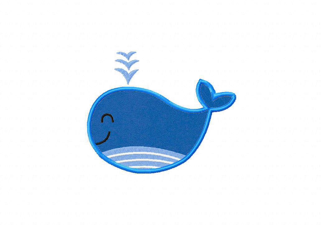 Whimsy Whale Includes Both Applique and Fill Stitch