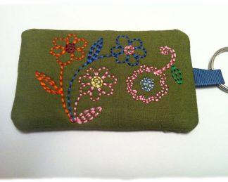 In The Hoop Redwork Flowers Key Chain Card Holder Plus Tutorial