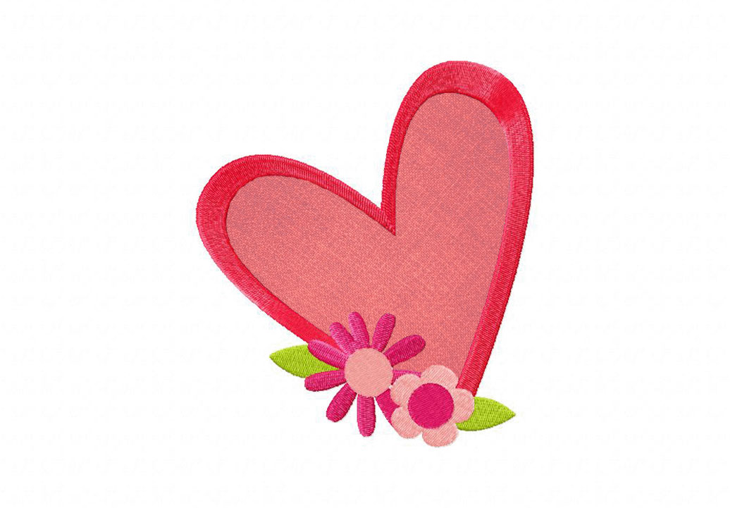 Bright hearts and flowers machine embroidery design includes both
