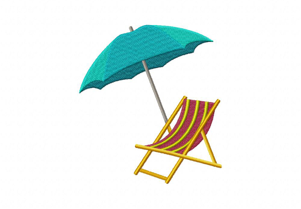beach chair and umbrella machine embroidery design daily