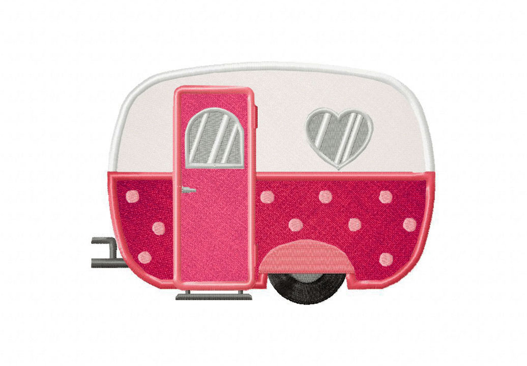 Hearts caravan includes both applique and stitched u daily embroidery