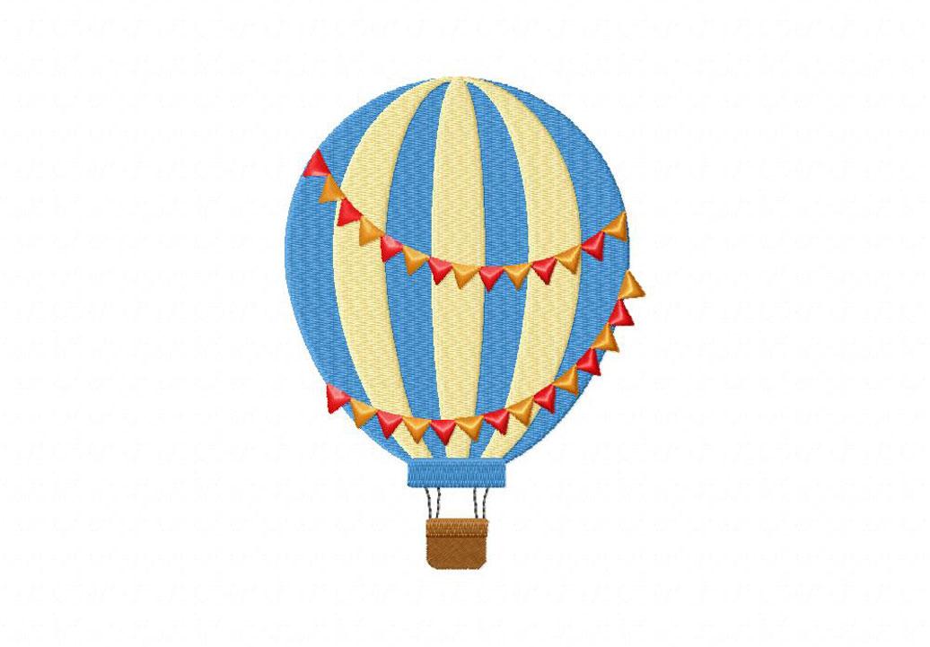Multicolor Hot Air Balloon Machine Embroidery Design