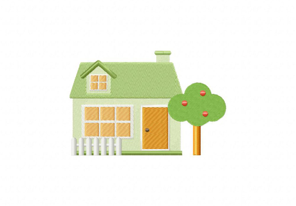 Picket Fence House Machine Embroidery Design Daily