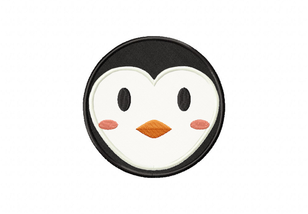 Round Penguin Face Includes Both Applique And Stitched