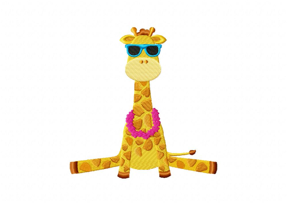 summer giraffe machine embroidery design daily embroidery