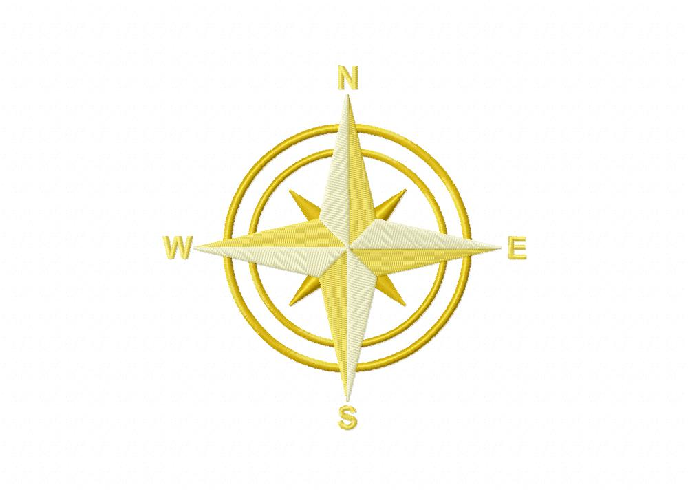 Yellow Compass Machine Embroidery Design Daily Embroidery
