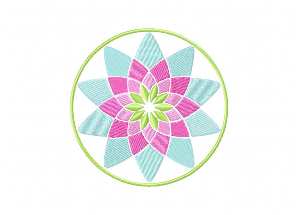 Modern Circular Floral Pattern Machine Embroidery Design