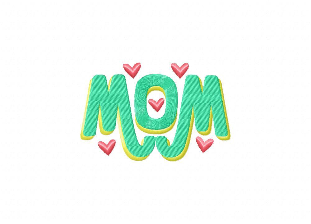 Mom monogram hearts machine embroidery design daily