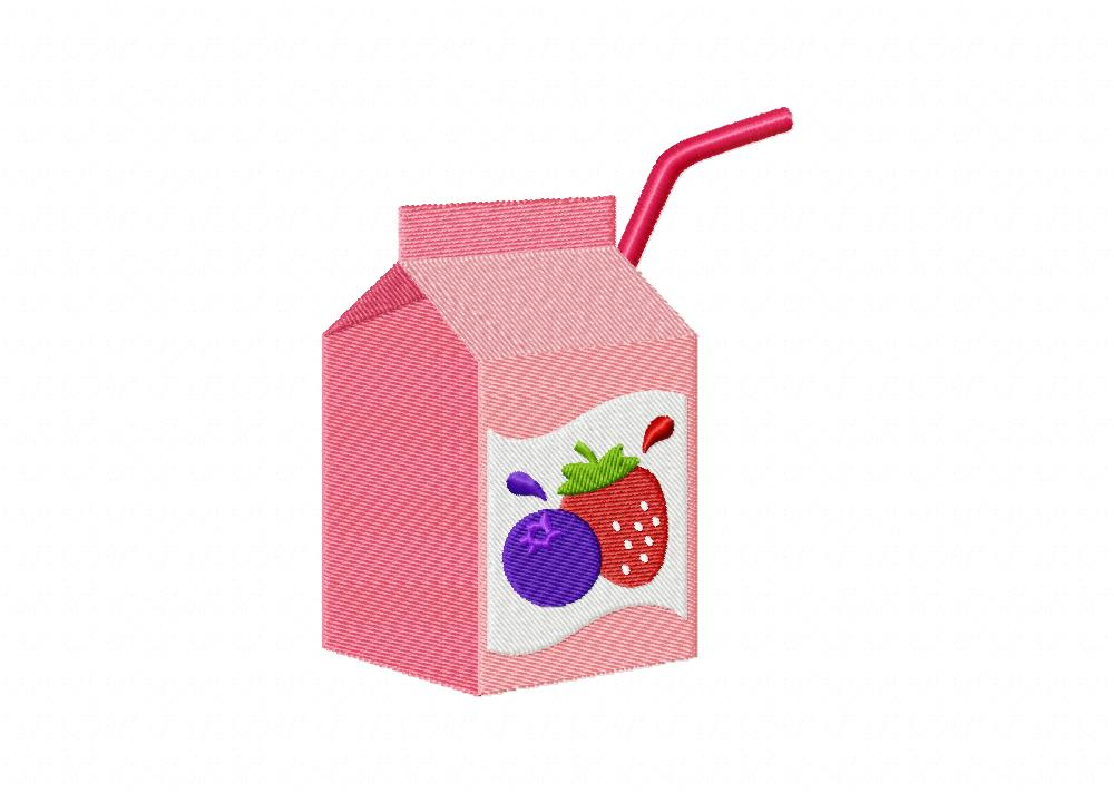 Mixed Berry Juice Box Machine Embroidery Design Daily