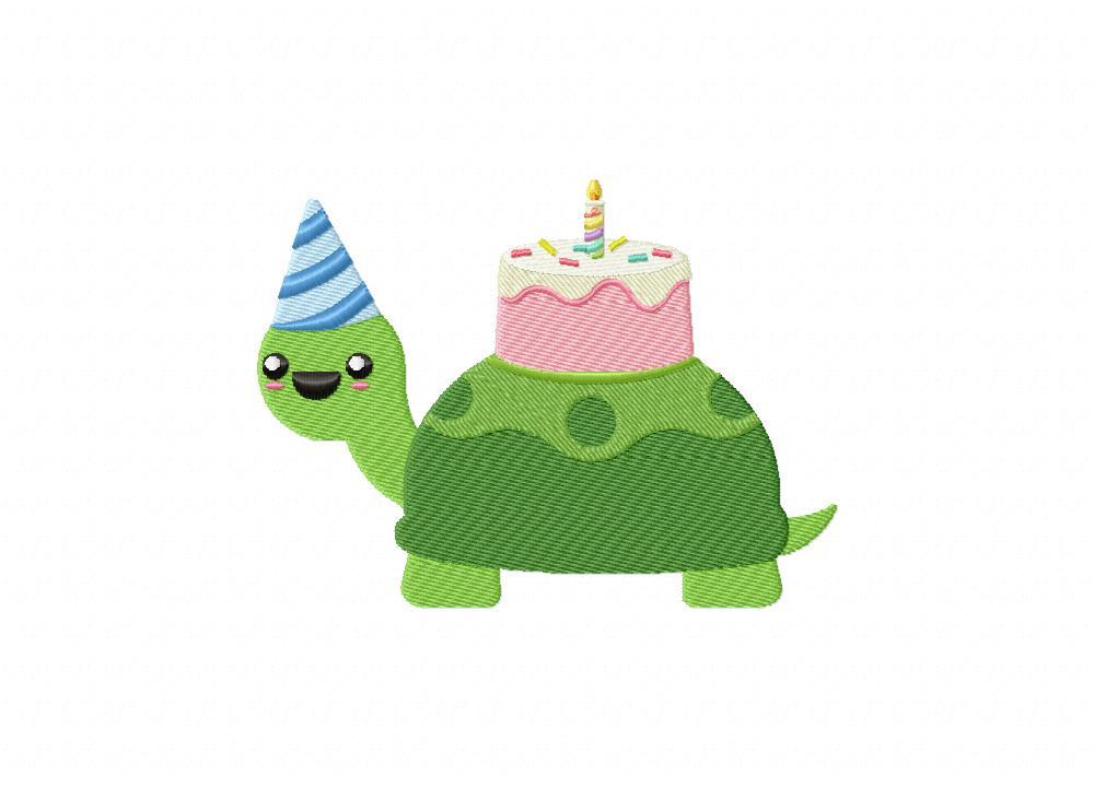 Birthday Turtle Cake Machine Embroidery Design Daily