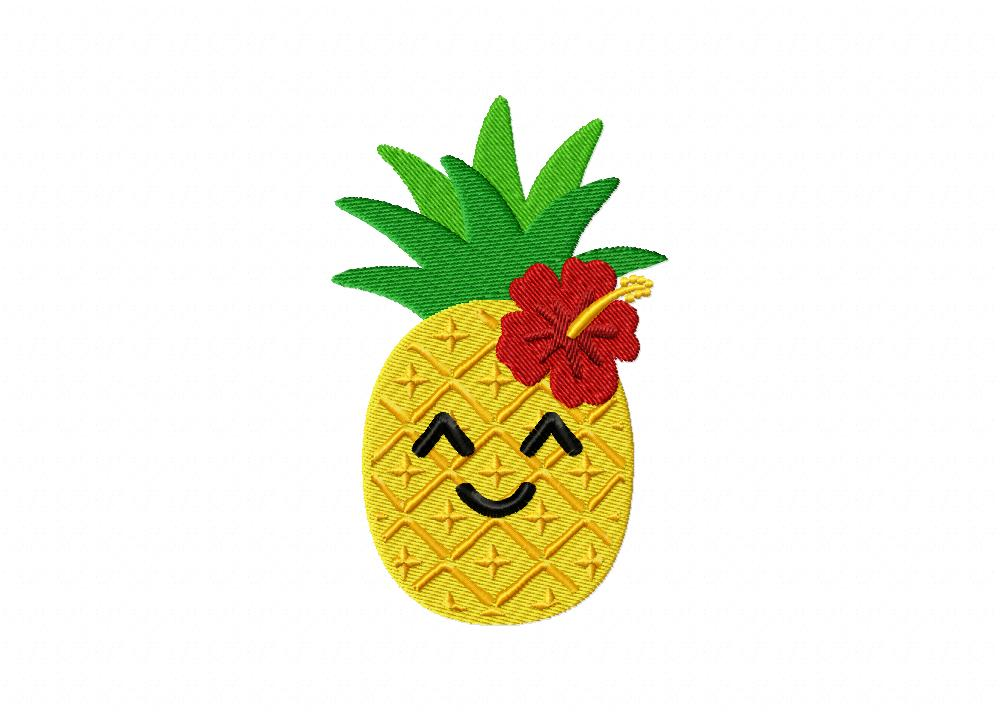 Cool Pineapple With Flower Machine Embroidery Design