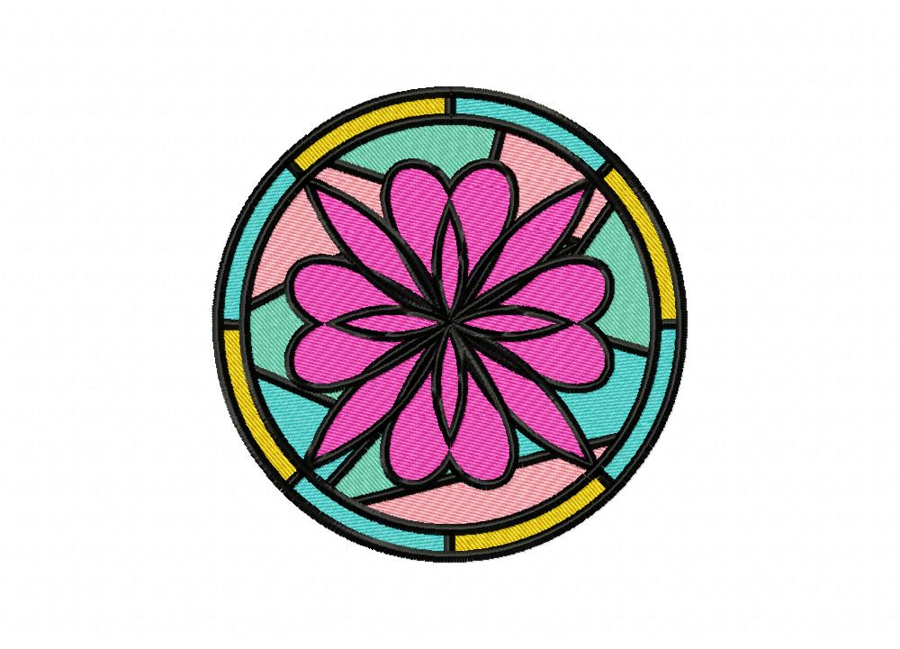 Charming Stained Glass Flower Machine Embroidery Design U2013 Daily Embroidery