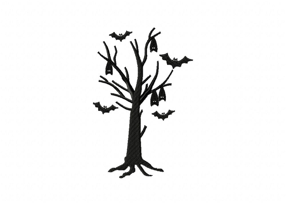 spooky bat tree machine embroidery design  u2013 daily embroidery
