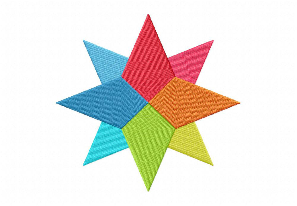 Colorful Pointed Star Machine Embroidery Design Daily Embroidery