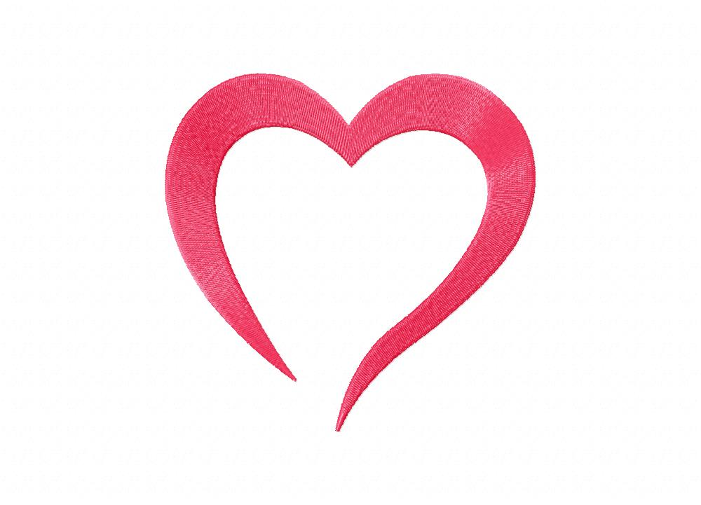 Pink Heart Doodle Shape Machine Embroidery Design