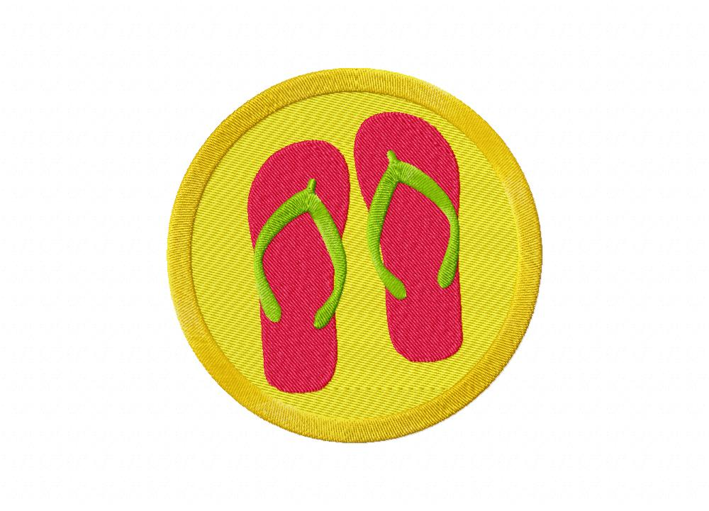 Beach summer slippers machine embroidery design daily for Beach house embroidery design