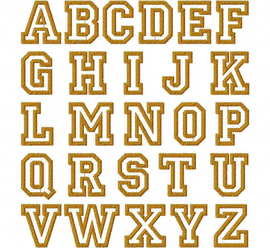 College Outline Font Embroidery Font Set