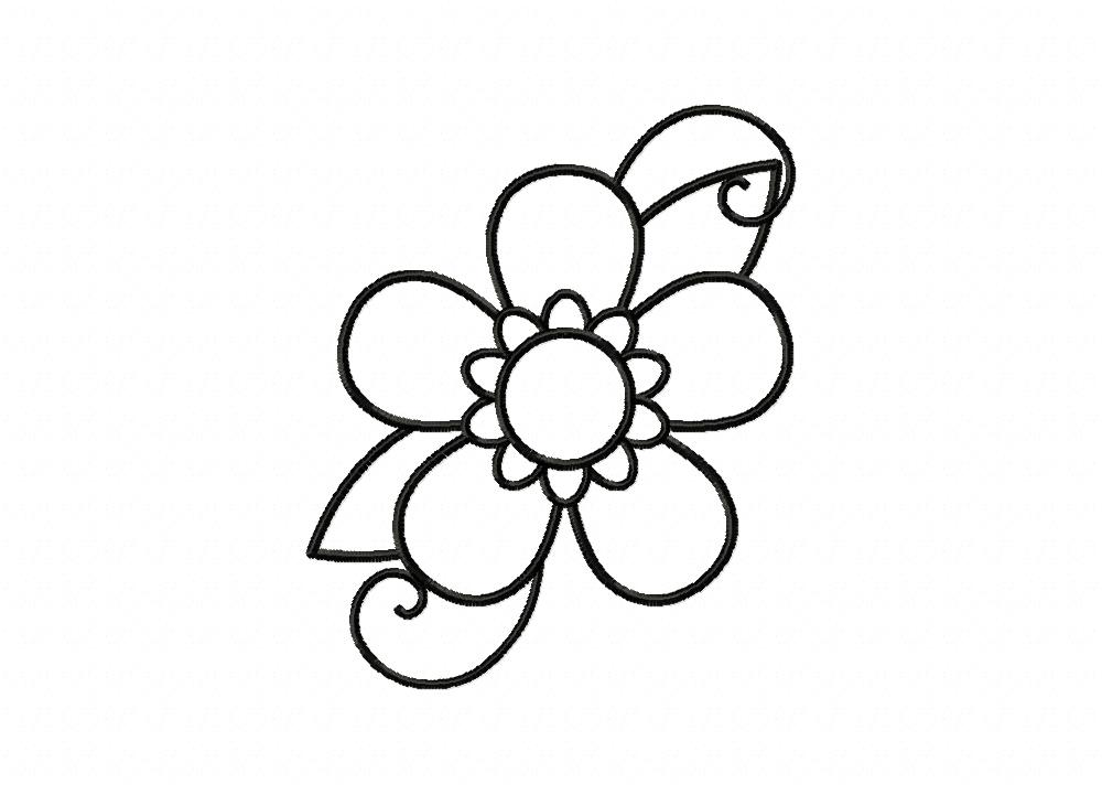 Five Petal Flower Doodle Outline Machine Embroidery Design Daily