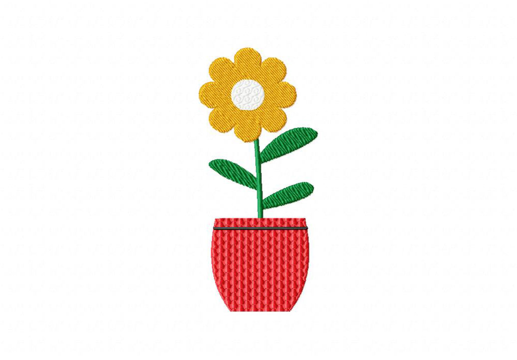 Yellow Flower In Red Pot Embroidery Design Daily Embroidery