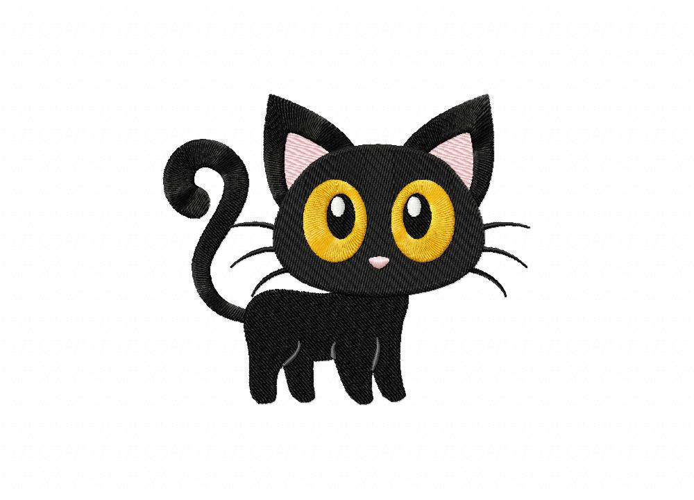 Cute Halloween Cat Includes Both Applique And Stitch Embroidery Design