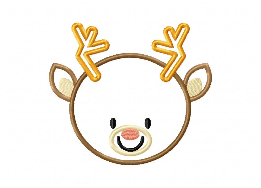Cute round face reindeer includes both applique and stitch