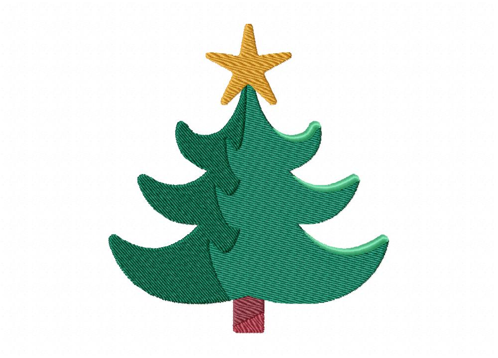 Christmas tree includes both applique and stitch embroidery design