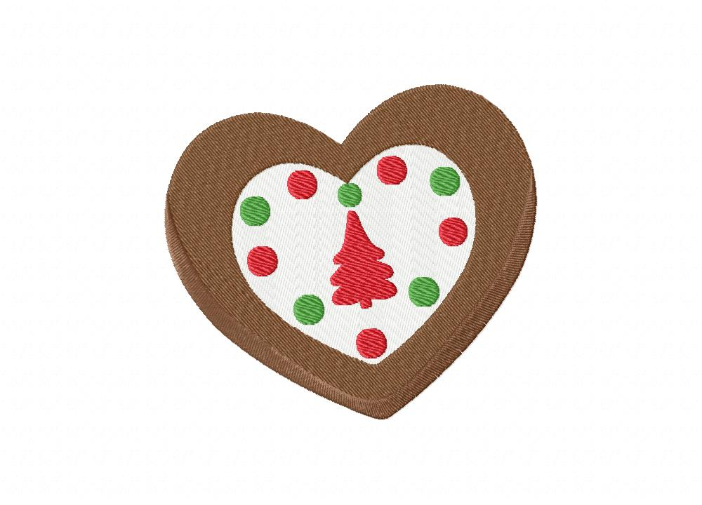 Heart shaped christmas cookie includes both applique and stitch