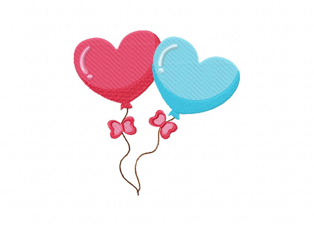 Valentine heart balloon includes both applique and stitch