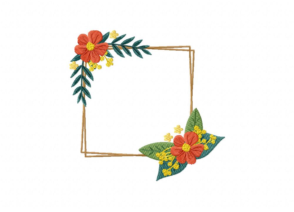 Orange Flower Frame Embroidery Design