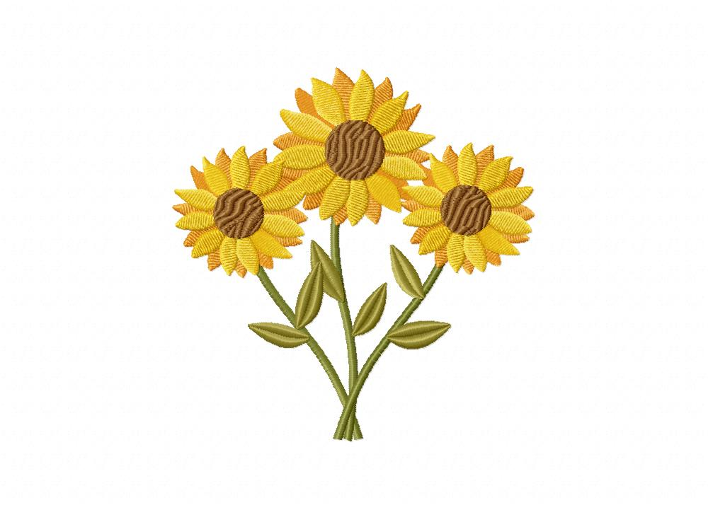 Plant Embroidery Design Flower PES Embroidery Design Sunflower Machine Embroidery Design Digital File Sunflower Embroidery Design
