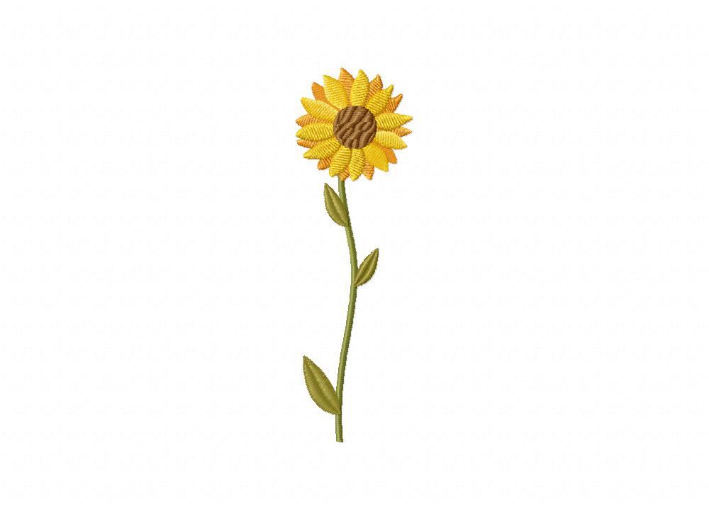 Long Stem Sunflower Embroidery Design